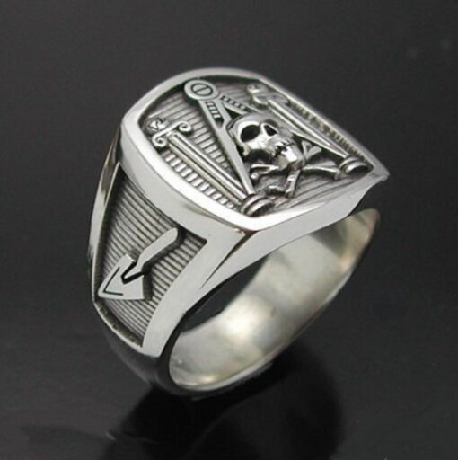 Masonic Skull and Pillar Ring in Sterling Silver ~ Style 013a