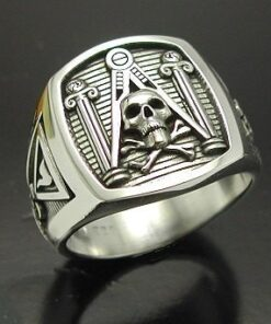 Skull and Pillar Masonic Ring in Sterling Silver ~ Style 012a