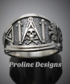 Masonic Skull and Pillar Ring in Sterling Silver ~ Cigar Band Style 022s