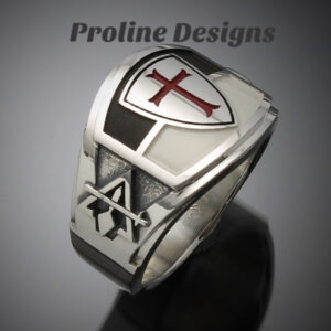 Knights Templar Masonic Ring in Sterling Silver ~ Cigar Band Style 035