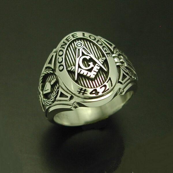 For Randy O. ~ Custom Bezel Masonic Ring in 14k Gold ~ Cigar Band Style 011CB