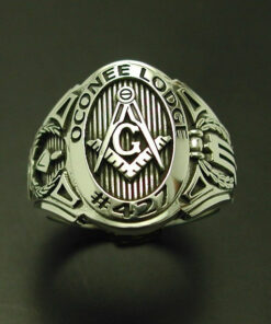 Customized Masonic Ring in Sterling Silver ~ Cigar Band Style 011CB