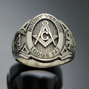 Customized Scottish Rite Masonic ring in Sterling Silver ~ Cigar Band Style 025C