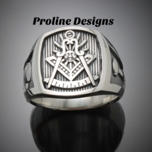 Past Master Masonic Ring in Sterling Silver with Oxidized Finish ~ Style 008O