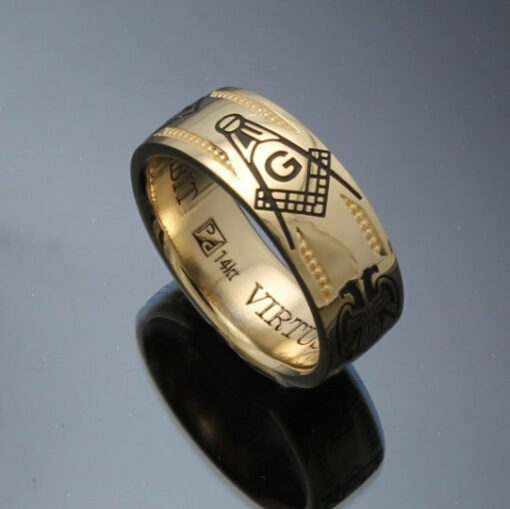 Handmade Masonic Ring in 14k Gold ~ Vintage Style 024
