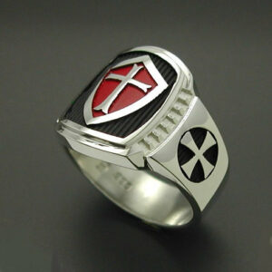 Knights Templar Masonic Cross ring in Sterling Silver With Red Shield ~ Style 014