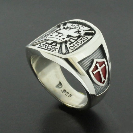 Knights Templar Masonic Cross Ring in Sterling Silver with Red Shields ~ Style 017R