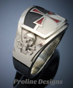 Knights Templar Masonic Ring in Sterling Silver ~ Cigar Band Style 035a