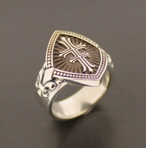 Ladies Double Cross Sterling Silver Ring with Fleur de Lis in Brown ~ Style #056B
