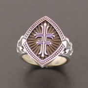 ladies-double-cross-sterling-silver-ring-with-fleur-de-lis-in-brown-style-056b-57e997143.jpg