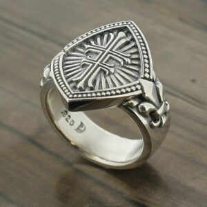 Ladies Double Cross Sterling Silver Ring with Fleur de Lis ~ Style #056