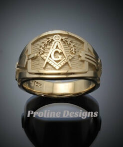 Masonic Blue Lodge Ring Cigar Band Style in Gold ~ Handmade ~ style 041g