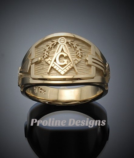 Masonic blue lodge ring cigar band style in gold handmade style 041g