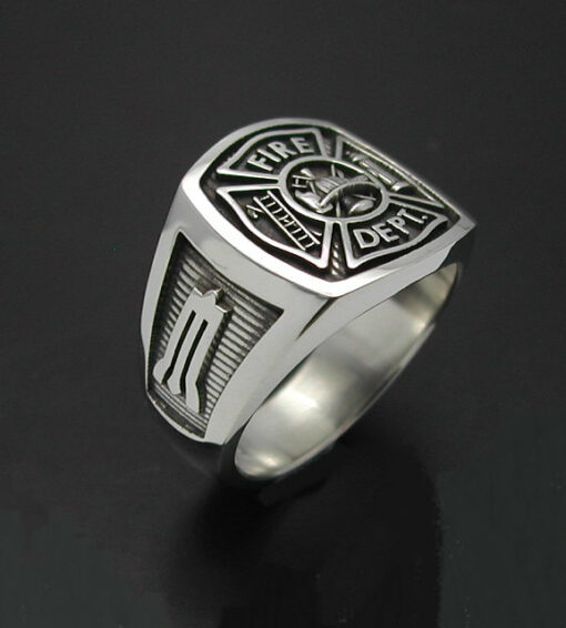 Masonic Fireman Ring in Sterling Silver ~ Style 023M