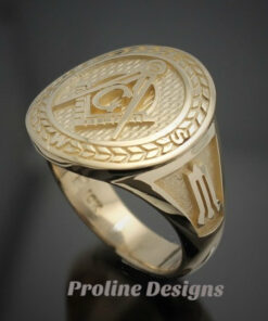 Masonic Moral Compass Ring in Gold ~ Handmade ~ style 032g