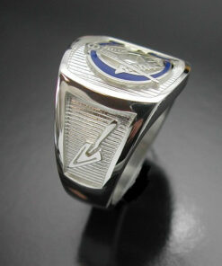 Masonic Ring Blue Lodge in Sterling Silver with Blue G ~ Style 003BG