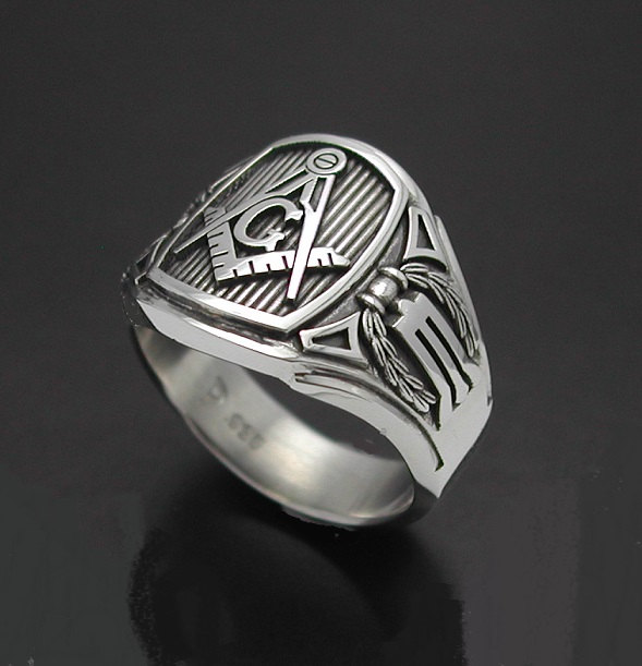 Masonic Ring For Men In Sterling Silver Cigar Band Style 026