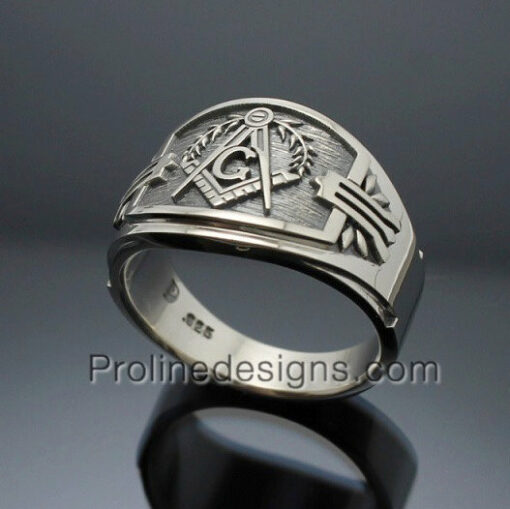 Masonic Ring for Men in Sterling Silver ~ Cigar Band Style 027