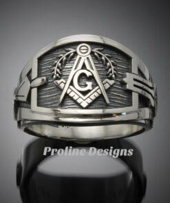 Masonic Ring for Men in Sterling Silver ~ Cigar Band Style 027a