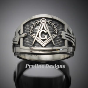 Custom for Jonathan L~ Masonic Ring for Men in Sterling Silver ~ Cigar Band Style 027a