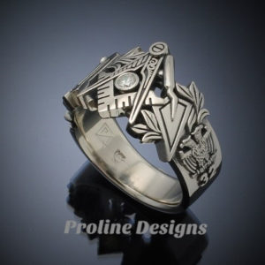 Masonic Ring in Gold with .08ct. Diamond ~ Original Design ~ Handmade ~ style 019