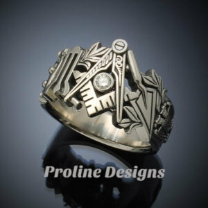 Masonic Ring in 10k White Gold with .08ct. Diamond ~ Original Design ~ Handmade ~ style 019