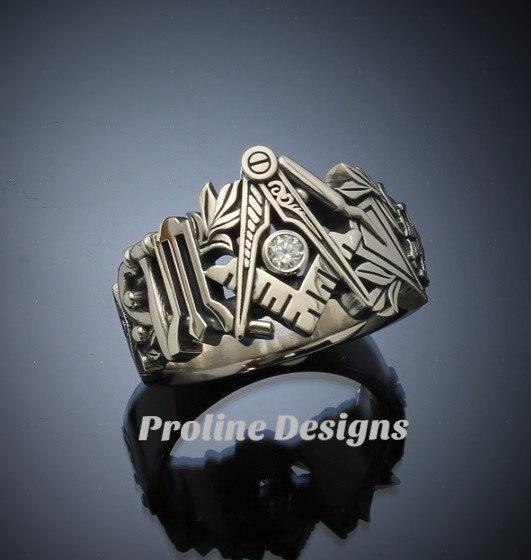 Masonic Ring in Gold with .08ct. Diamond ~ Original Design ~ Handmade ~ style 019