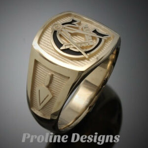 Masonic Ring in Solid Gold with Black G ~ Style 003BLKG