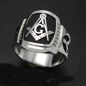 Custom for Mark T. ~ Masonic Ring in Sterling Silver ~ Cigar Band Style 021B ~ Size 9