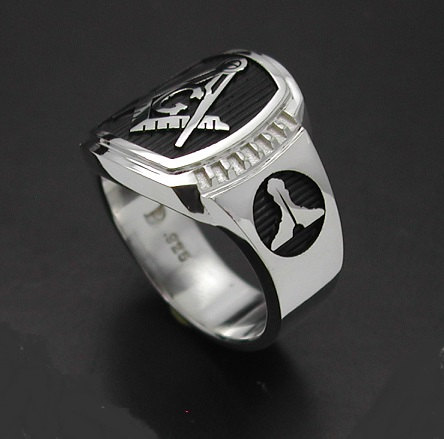 Masonic Ring in Sterling Silver ~ Cigar Band Style 021B