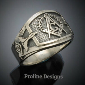 Masonic Ring in Sterling Silver ~ Cigar Band Style 027L