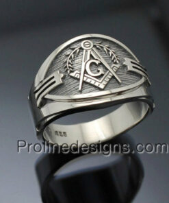 "Masonic Ring in Sterling Silver ~ Cigar Band Style 040 ""Seeing eye"""