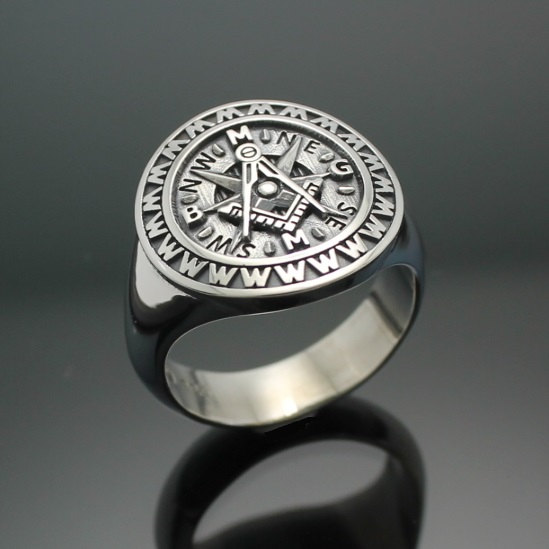 "Masonic Ring in Sterling Silver ~ Moral Compass Rose ""Making Good Men Better"" style 033"