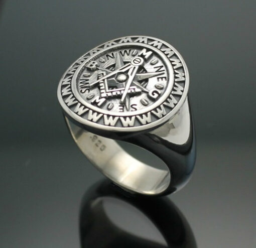 """Masonic Ring in Sterling Silver ~ Moral Compass Rose """"Making Good Men Better"""" style 033"""