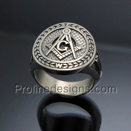 Masonic Ring in Sterling Silver ~ Moral Compass Rose NESW~ style 032