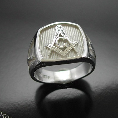 Masonic Ring in Sterling Silver ~ Style 006
