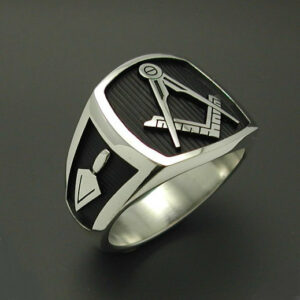 Masonic Ring in Sterling Silver with Solid Sides ~ Style