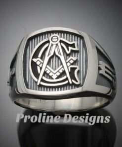 Masonic Ring in Sterling Silver with Black G~ Style 003OB1