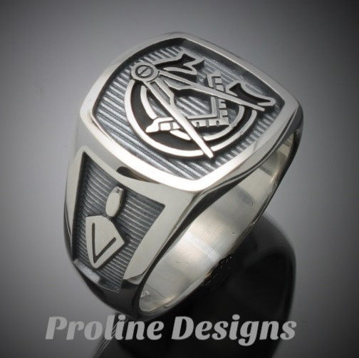 masonic ring in sterling silver with black g style 003ob1