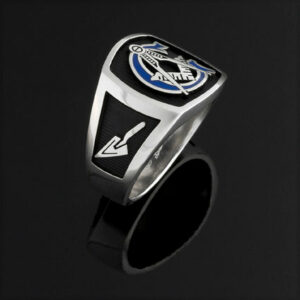 Masonic Ring in Sterling Silver with Blue G ~ Style 003BB