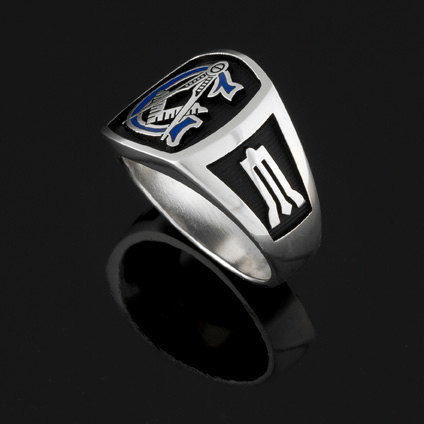 Custom for Matthew D ~ Masonic Ring in Sterling Silver with Blue G ~ Style 003BB ~ Size 14