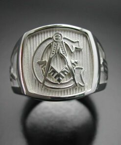Masonic Ring in Sterling Silver with Polished Finish ~ Style 003