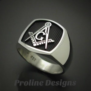 Masonic Ring in Sterling Silver with Solid Sides ~ Style 006BSS