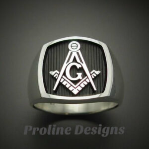 Custom for Paul H. ~ Masonic Ring in Sterling Silver with Pillar Sides ~ Size 9