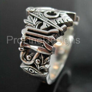 Masonic Ring Unique Design in Sterling Silver ~ Style 002