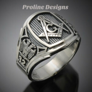 Masonic Scottish Rite Ring for Men in Sterling Silver Cigar Band Style 026s