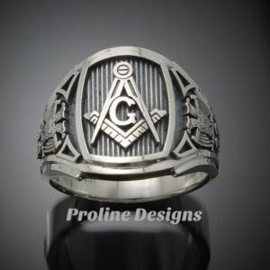 Masonic Scottish Rite Ring for Men in Sterling Silver ~ Cigar Band Style 026s