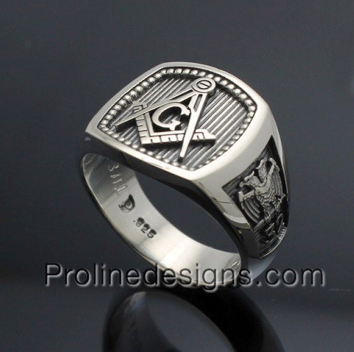 Custom for Jordan K ~ Masonic Skull and Pillar Ring in Sterling Silver ~ Style 012b ~ Size 8.5