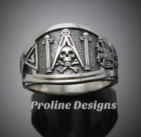 Masonic Skull and Pillar Ring for Men in Sterling Silver ~ Cigar Band Style 022s