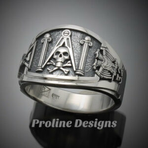 Custom for Greg ~ Masonic Skull and Pillar Ring in Sterling Silver ~ Cigar Band Style 022s ~ Size 11.5